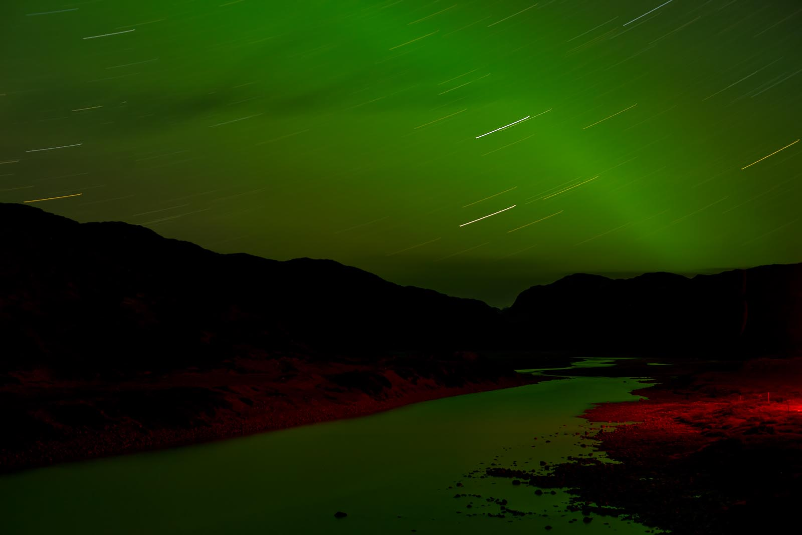 Darkland: Ethereal Greenland at Night (red and green)